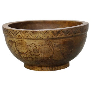 Antique French Hand-Carved Fruit Bowl For Sale