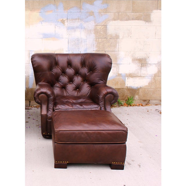 Restoration Hardware Churchill Chair & Ottoman - Image 4 of 9