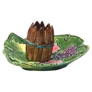 Antique Majolica Grape Matchstick Holder For Sale