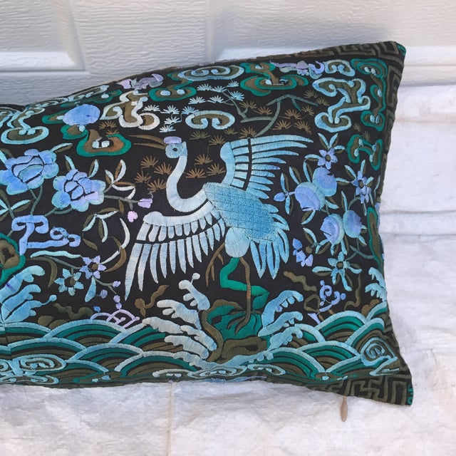 Hollywood Regency Blue & Black Asian Chinoiserie Boudoir Pillow - Image 3 of 6