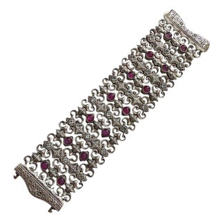 Konstantino Sterling Amethyst Diamond Wide Bracelet For Sale