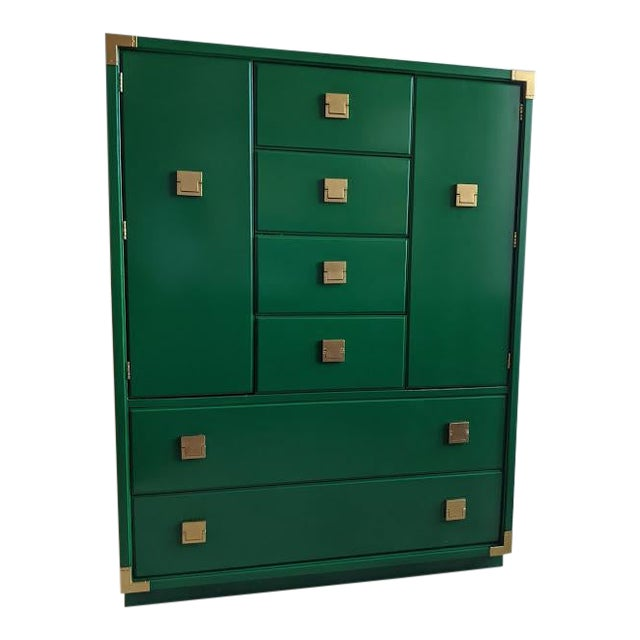 1970s Thomasville Campaign Gloss Green Highboy Dresser For Sale