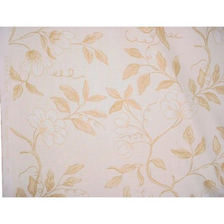 Gp & J Baker Opera Trail Honey Printed Linen Upholstery Fabric- 4 3/8 Yards For Sale