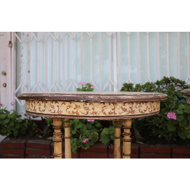 1950s Campaign Carved and Hand Painted Tall Center Tables - a Pair For Sale - Image 4 of 12