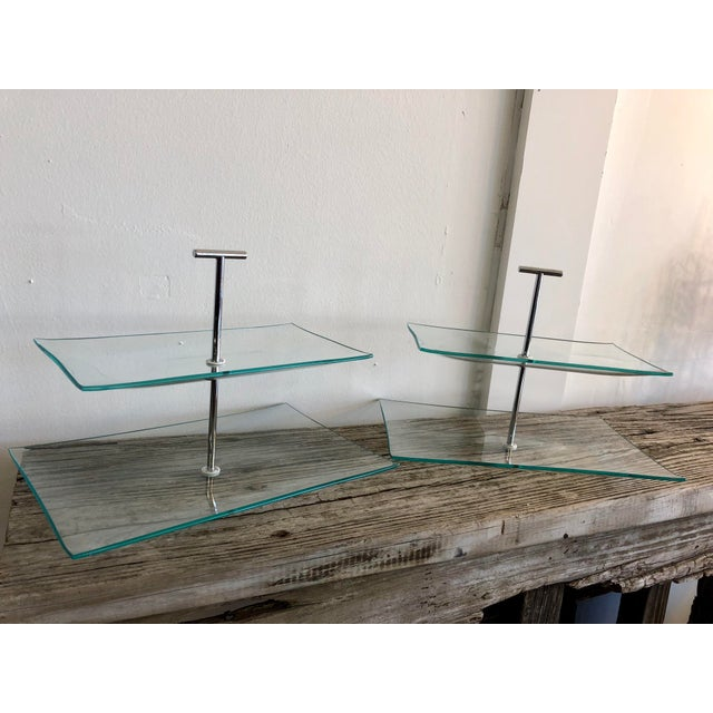 Metal Contemporary Two Tiered Glass Serving Trays - a Pair For Sale - Image 7 of 7