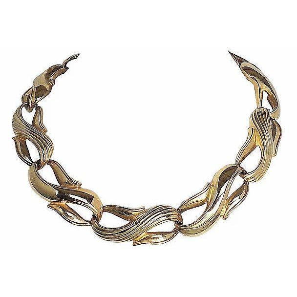 Gold Givenchy Textured & Smooth Link Necklace For Sale - Image 8 of 8