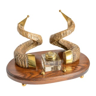 Rams Horn and Brass Ink Well For Sale