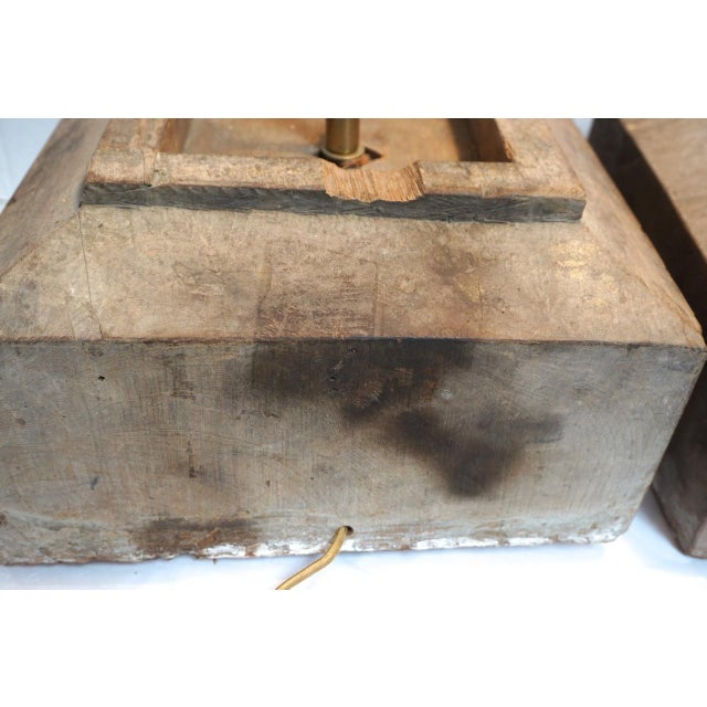 Antique Solid Hewn Wood Block Lamps-Pair For Sale - Image 11 of 13