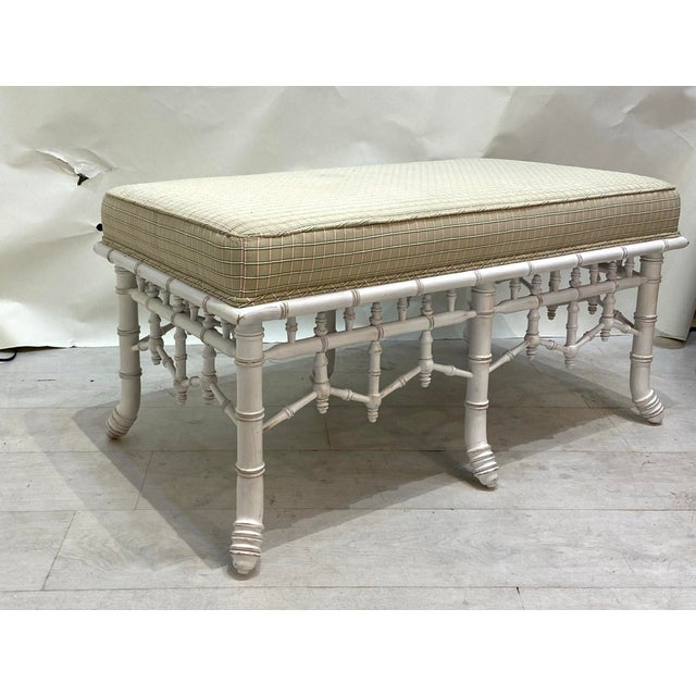English 1990s Vintage Faux Bamboo Wooden Bench With Upholstered Top For Sale - Image 3 of 6
