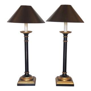 J. Robert Scott Black & Gold Giltwood Column Lamps - a Pair For Sale