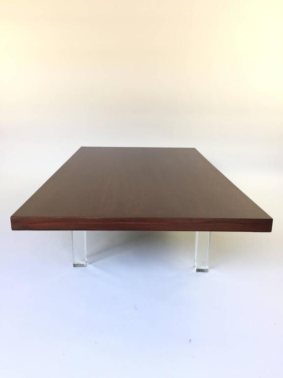 Milo Baughman Rosewood Cocktail Table On Lucite Legs   Image 3 Of 4