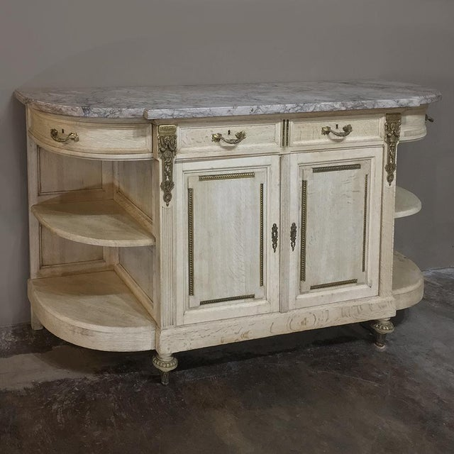 19th Century French Louis XVI Marble Top Stripped Oak Buffet With Ormolu Bronze For Sale - Image 4 of 12