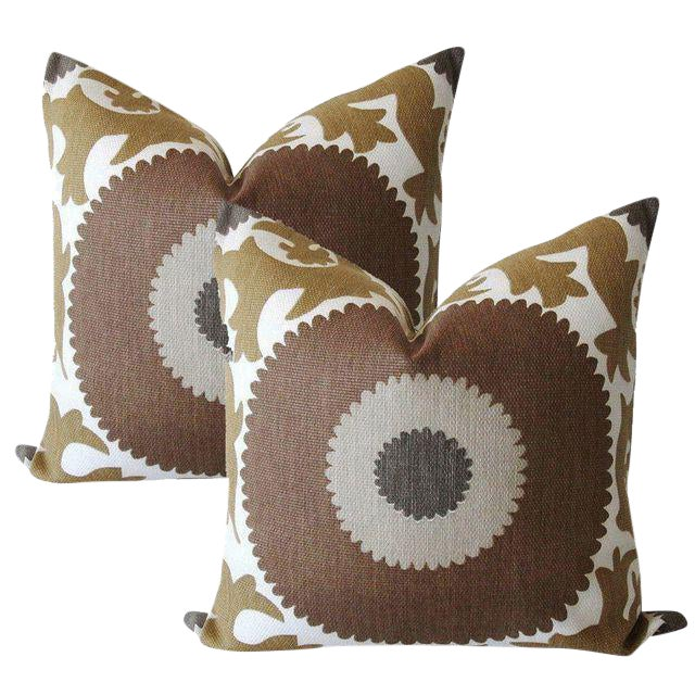 Taupe Gulkurpa Suzani Pillows - a Pair For Sale