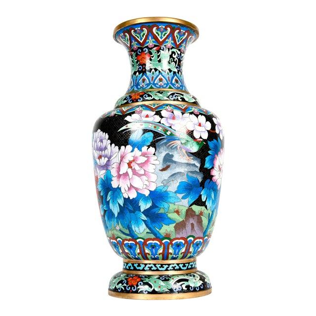 Vintage Gilt Brass Interior Cloisonné Decorative Vase For Sale