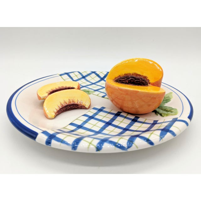French Country Bella Casa Trompe l'Oeil Blue and White Peach Fruit Plate For Sale - Image 3 of 7