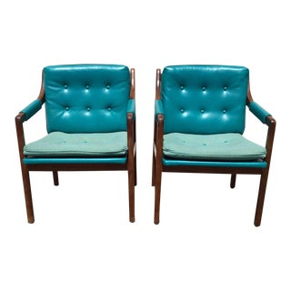 Vintage Mid Century Tufted Turquoise Vinyl Walnut Arm Chairs- A Pair For Sale