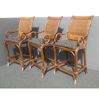 Tiki Palm Beach Style Black & Brown Bamboo Rattan Bar Stools - Set of 3 ~ Tommy Bahama Style Preview