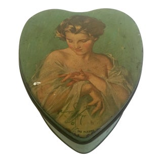 Vintage Mid-Century Tindeco Heart Shaped Female Portrait Tin Box For Sale