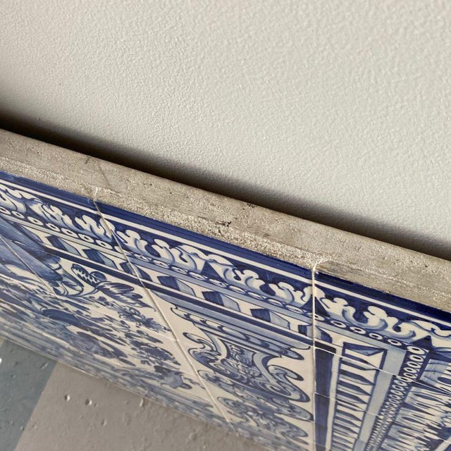Early 19th Century 19th Century Portuguese Blue and White Glazed Figural Azulejo For Sale - Image 5 of 8