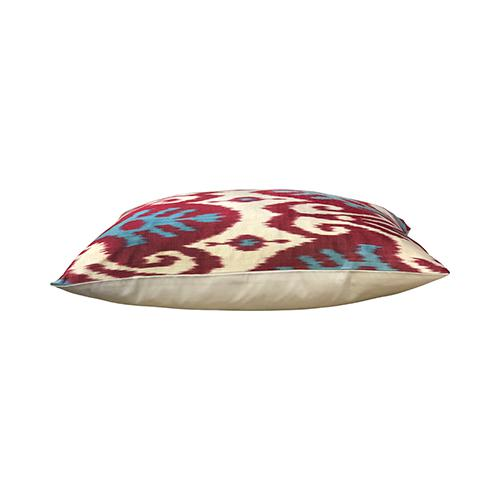 By Kim Salmela a 15″ x 23″ Multi-color Turkish silk ikat pillow, single face, cream woven back, zipper at bottom, 90/10...