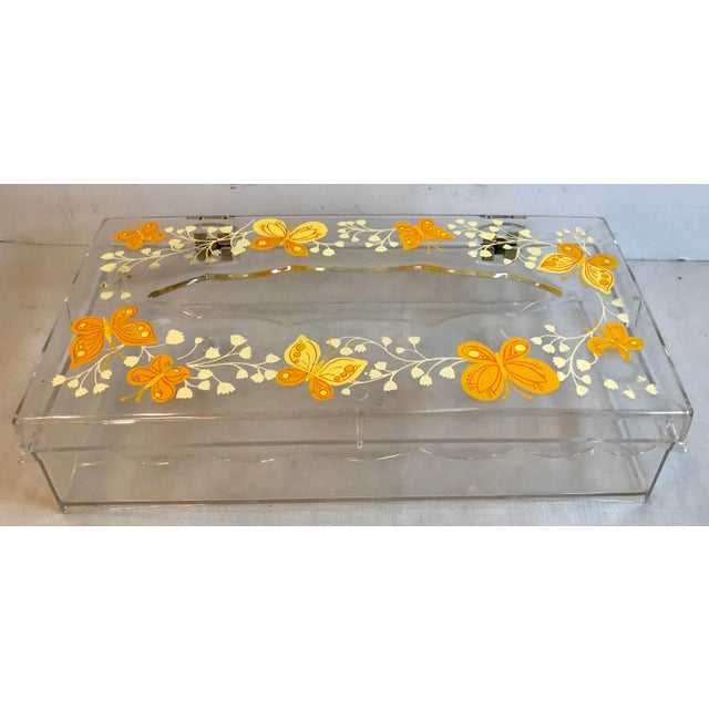 Vintage Lucite Painted Tissue Box Cover For Sale - Image 10 of 10