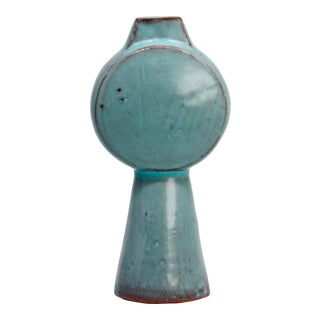 Sculptural Ceramic Vase - Tall Drum /Teal For Sale