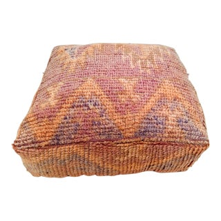 Moroccan Vintage Handcrafted Wool Pouf Cover,vintage Foot Stool, Ottoman Seating For Sale