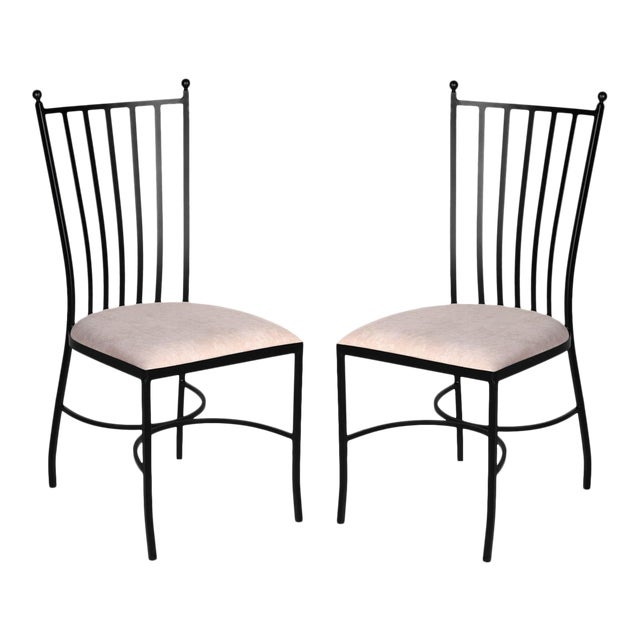 Pair of Two Garden Chairs in Brown Wrought Iron For Sale