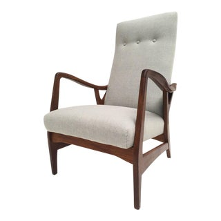 Solid 1950s Carved Teak Danish High Back Chair With New De Ploeg Wool Upholstery