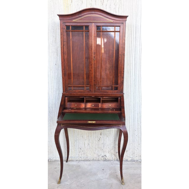 French 18th Century Louis XVI Style French Inlaid Secretary Desk For Sale - Image 3 of 13