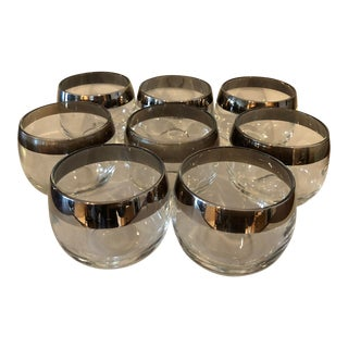 Mid-Century Roly Poly Silver Rimmed Vitreon Queen's Lusterware-Set of 8 For Sale