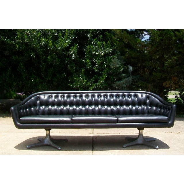 Chromcraft Mid Century Modern Black Tufted Couch - Image 10 of 11