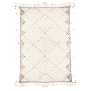 Moroccan White and Black Wool Rug With Pile - 10′3″ × 13′8″ For Sale