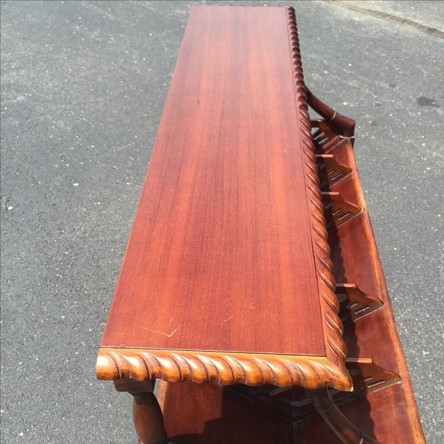 Mahogany Bamboo Chippendale Magazine Table - Image 6 of 10