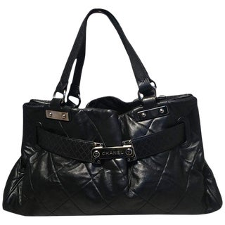 Chanel Quilted Black Leather Latch Front Tote Bag For Sale