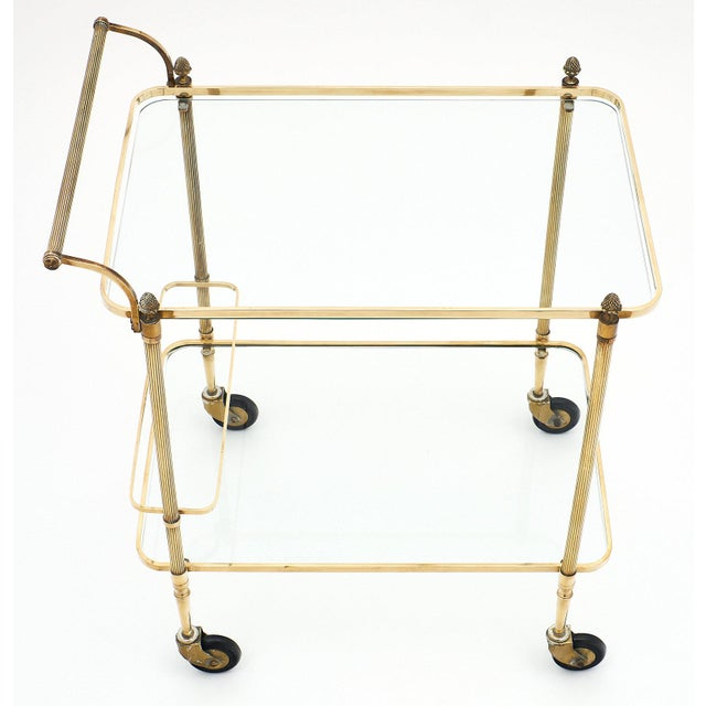French Art Deco Period Brass Bar Cart With Finials For Sale - Image 4 of 10