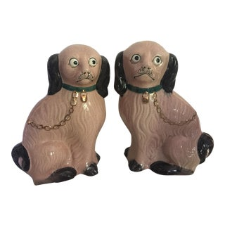 1970s Hollywood Regency Pink Staffordshire Dogs - a Pair For Sale