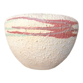 Large 1980s Post Modern Textured Ceramic Vase For Sale