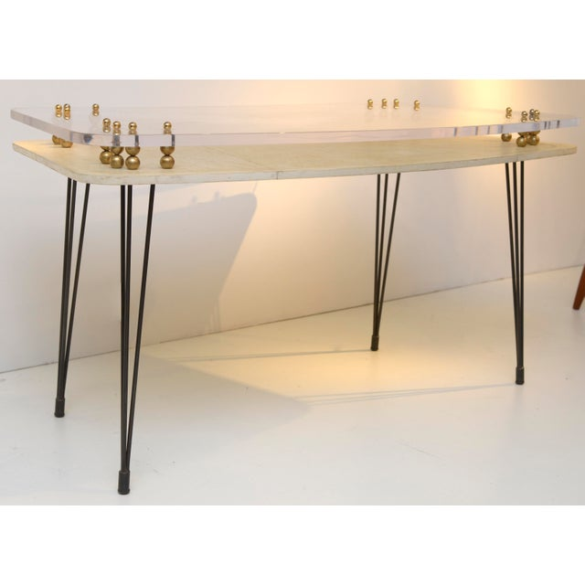 Parchment Covered and Perspex 1950's Desk For Sale - Image 4 of 9