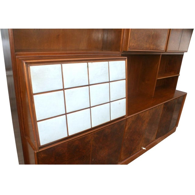 Mid-Century Modern 1960s Mid Century Modern Burl Wall Unit Entertainment For Sale - Image 3 of 10