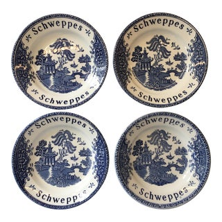 Vintage English Schweppes Blue Willow Pub Plates - Set of 4 For Sale