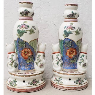 Pair of Early to Mid 20th Century Chinese Porcelain Figurines With Cats / Candle Holders Preview