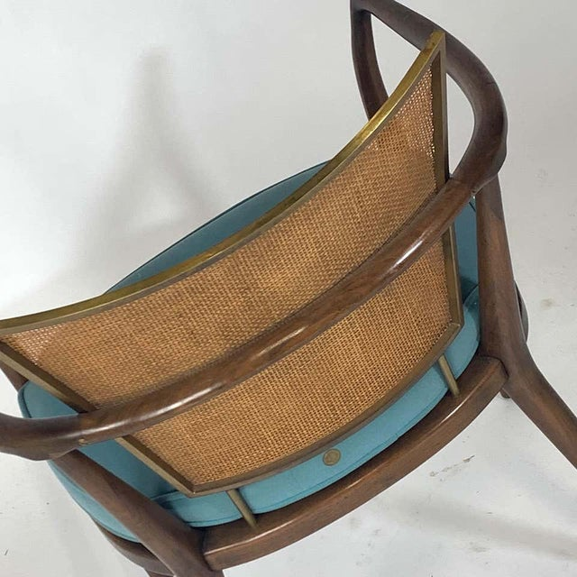 Pair of Sculptural Bert England Brass, Cane & Carved Walnut Arm or Dining Chairs For Sale - Image 10 of 13