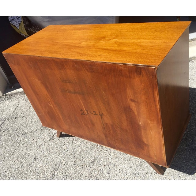 Brown 1960 Walnut Cabinet With Roll Doors/Work Station Desk For Sale - Image 8 of 10