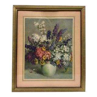 Vintage Still Life Floral Framed Print For Sale