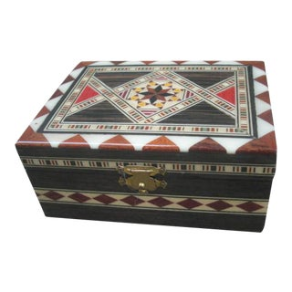 Inlaid Wood Marquetry Trinket Box For Sale
