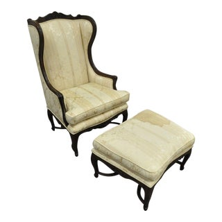 Vintage Mid Century French Country Louis XV Style Wing Back Chair & Ottoman For Sale