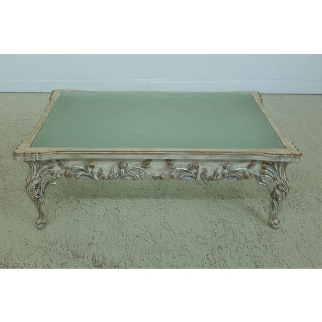 Gold French Paint Decorated Coffee Table W. Frosted Glass Top For Sale - Image 8 of 8