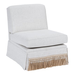 Casa Cosima Skirted Slipper Chair in Oatmeal Linen For Sale