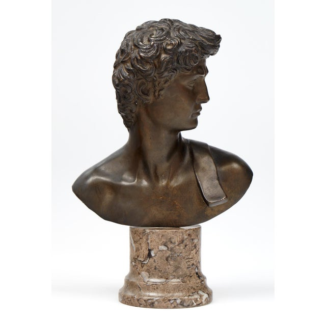 French Antique Bust of David after Michelangelo For Sale - Image 11 of 11